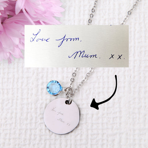 Image of Actual handwriting signature drawing necklace personalised unique necklace uk - Statement Made Jewellery