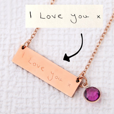 Actual handwriting signature necklace personalised bar necklace uk - Statement Made Jewellery