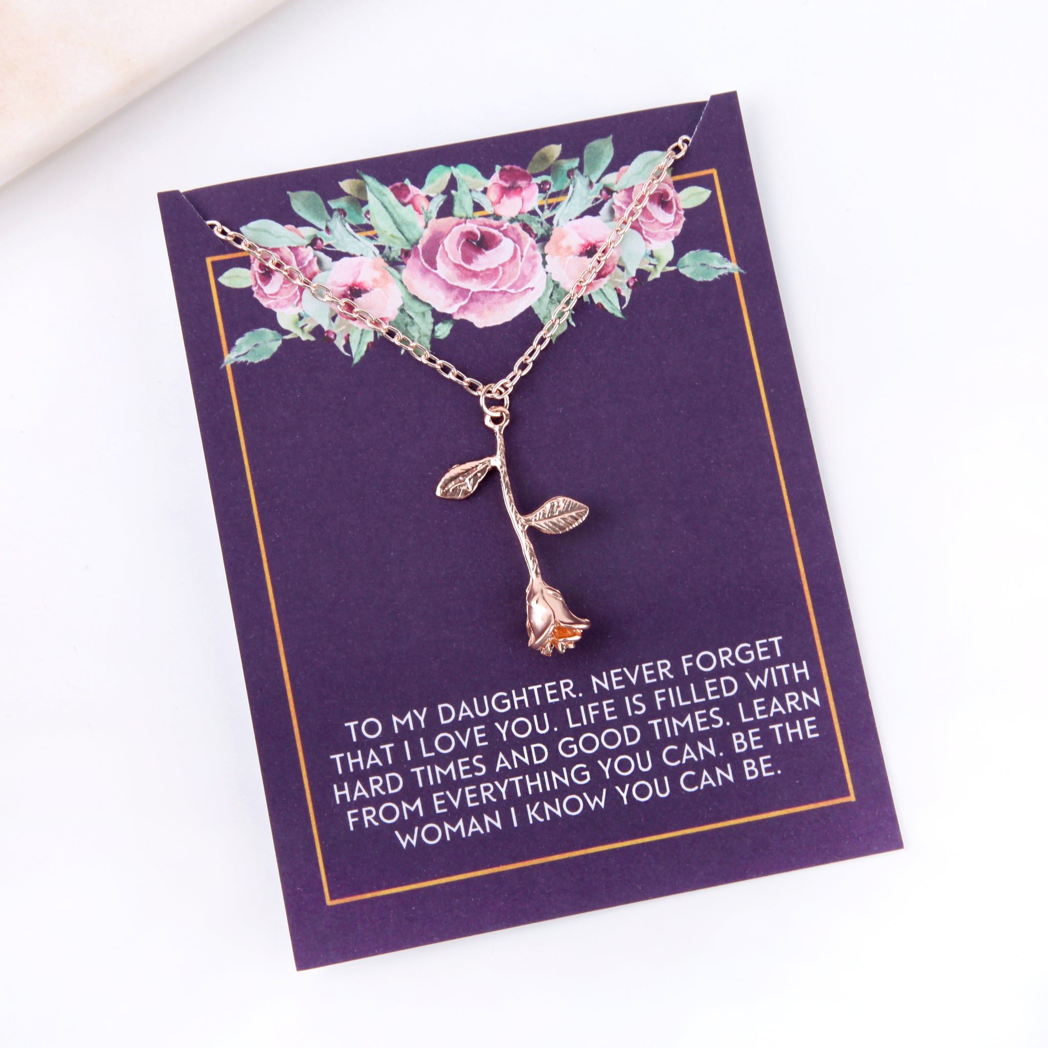 Personalised rose daughter inspirational gift message card gift necklace - Statement Made Jewellery