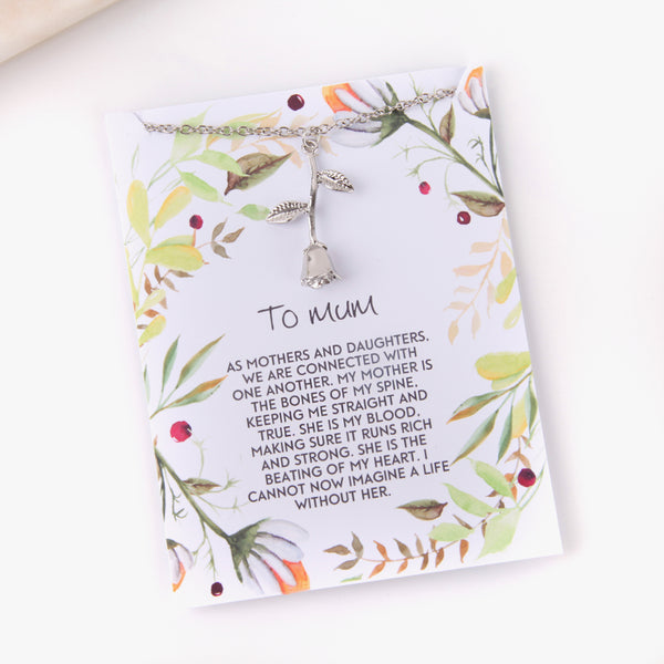 Personalised rose mother and daughter gift botanical card gift necklace - Statement Made Jewellery