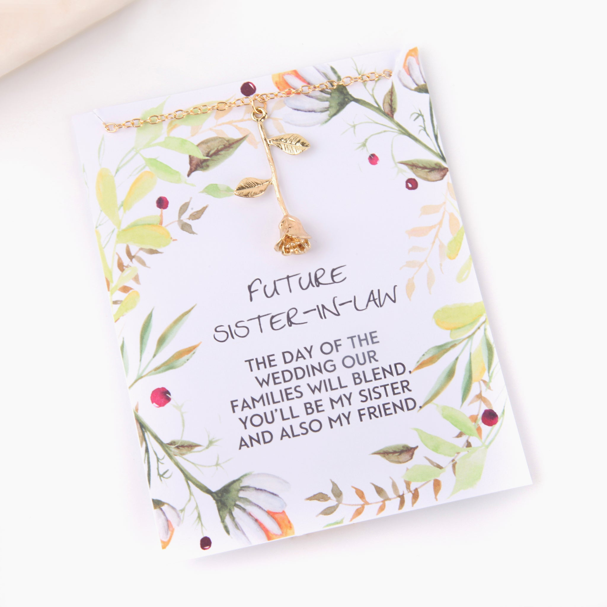 Personalised rose future sister in law gift botanical card gift necklace - Statement Made Jewellery