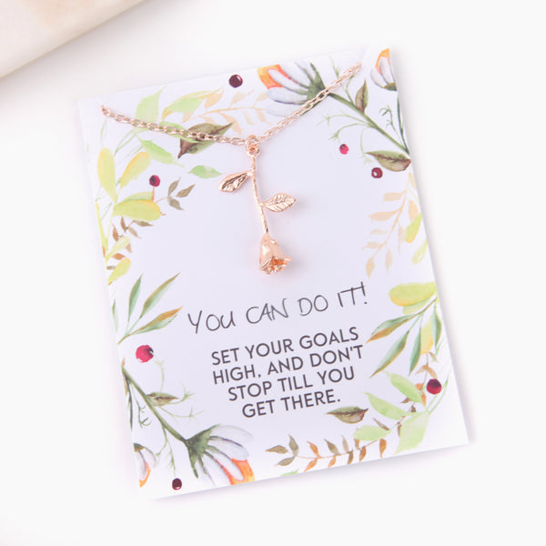 Personalised rose inspirational exams gift botanical card gift necklace - Statement Made Jewellery