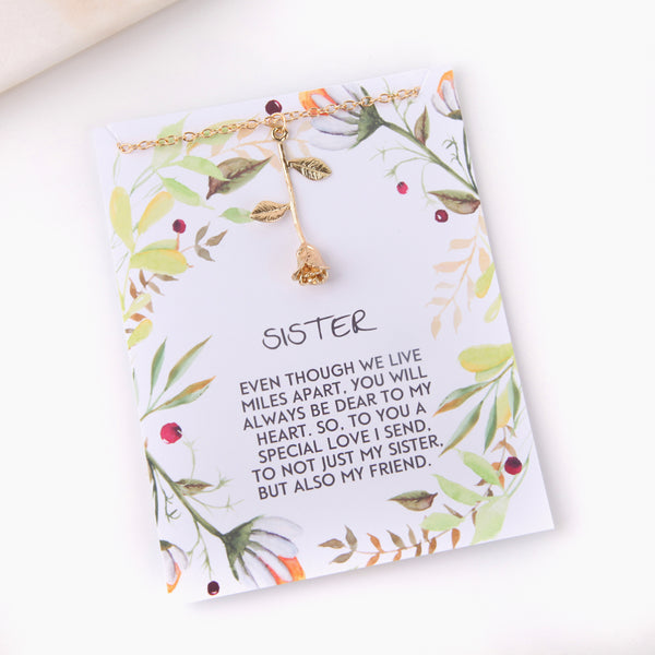 Personalised rose sisters gift botanical card gift necklace - Statement Made Jewellery