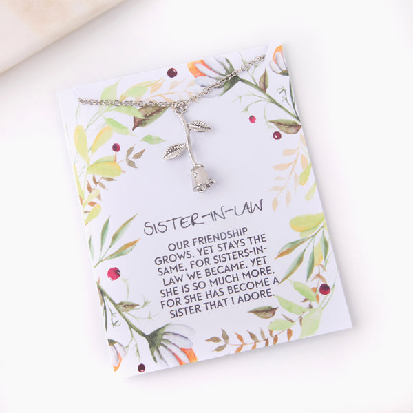 Personalised rose sister in law gift botanical card gift necklace - Statement Made Jewellery