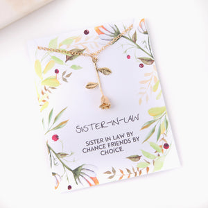 Personalised rose necklace gift for sister in law gift botanical card - Statement Made Jewellery