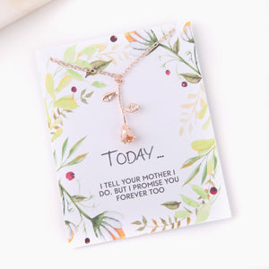 Personalised rose necklace gift for step daughter blended family gift botanical card - Statement Made Jewellery