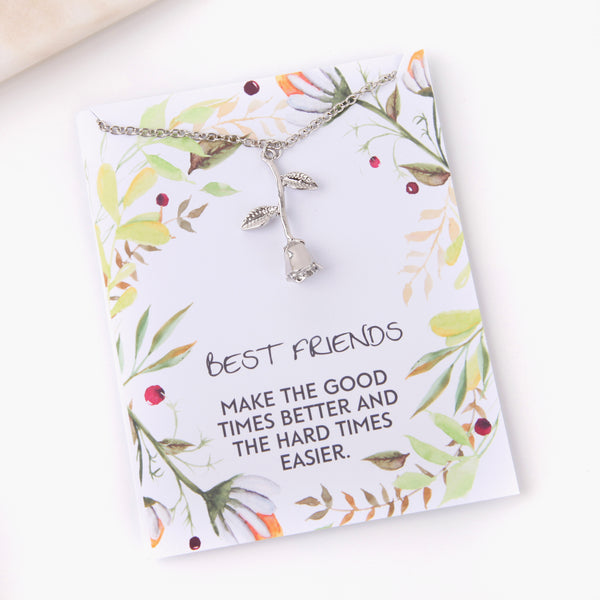 Personalised rose best friends gift botanical card gift necklace - Statement Made Jewellery