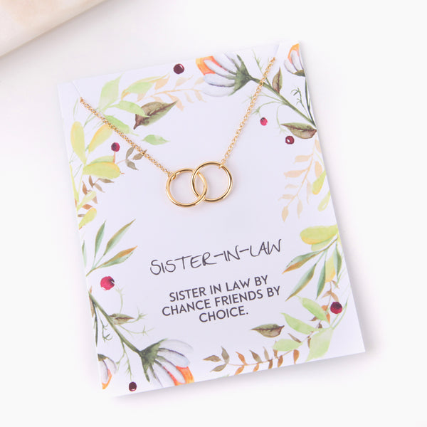 Personalised blended sister in law friendship foliage style gift necklace - Statement Made Jewellery