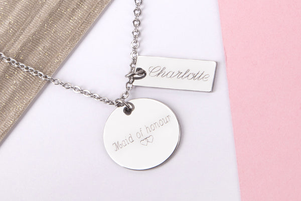 Silver engraved bridesmaid wedding gift 'bridesmaid' Stainless steel necklace - Statement Made Jewellery