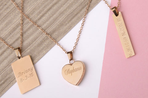 Stainless steel rose gold engraved message personalised heart bar rectangle necklace - Statement Made Jewellery