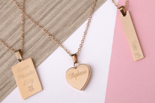 Rose gold engraved message personalised heart bar rectangle necklace - Statement Made Jewellery