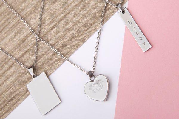 Stainless steel engraved message personalised heart bar rectangle necklace - Statement Made Jewellery