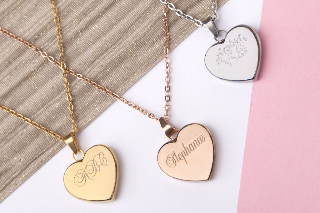 Stainless steel engraved message personalised heart necklace - Statement Made Jewellery