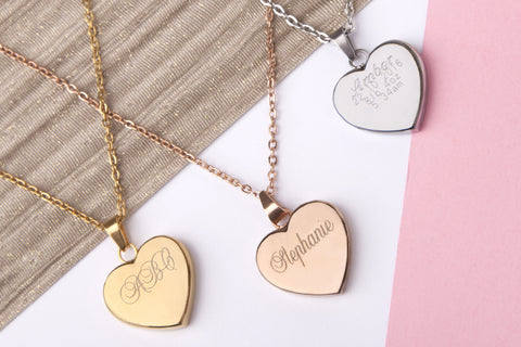 Stainless steel engraved message personalised heart necklace