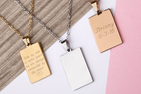 Stainless steel engraved rectangle name message personalised heart necklace