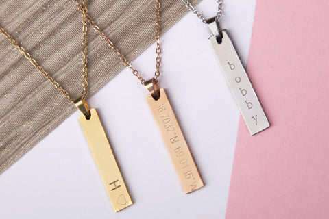 Stainless steel engraved bar name message personalised heart necklace