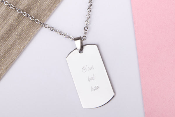 Silver engraved ID dog tag name gift Stainless steel necklace - Statement Made Jewellery