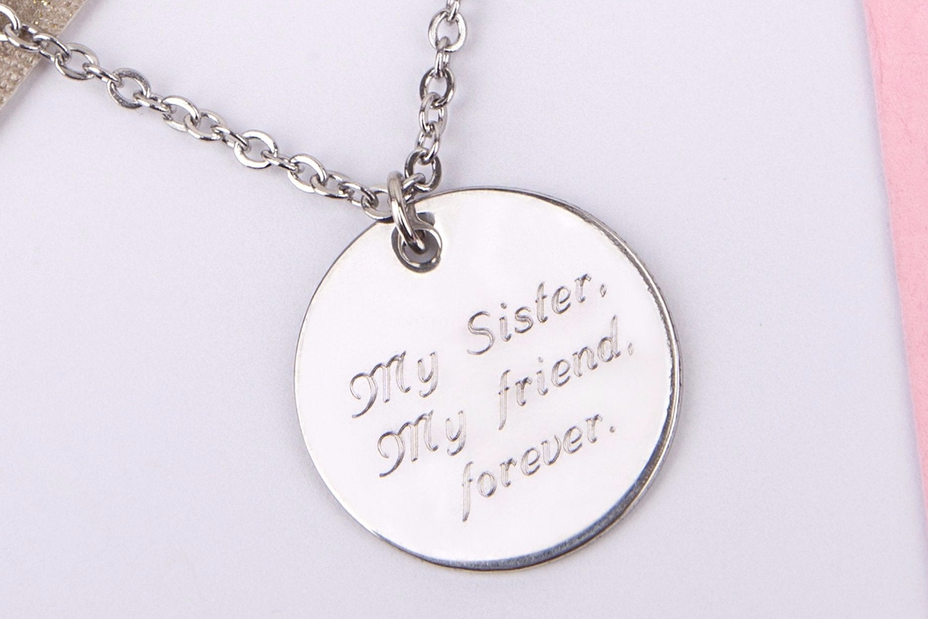 silver engraved sister gift my sister my friend forever