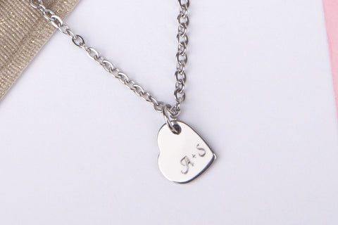 Silver engraved couples name gift Stainless steel necklace
