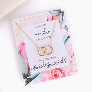 Personalised bridesmaid proposal pink peony style gift necklace - Statement Made Jewellery