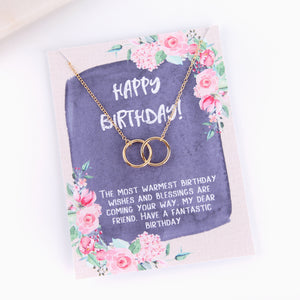 Personalised happy birthday gift pink floral style necklace - Statement Made Jewellery