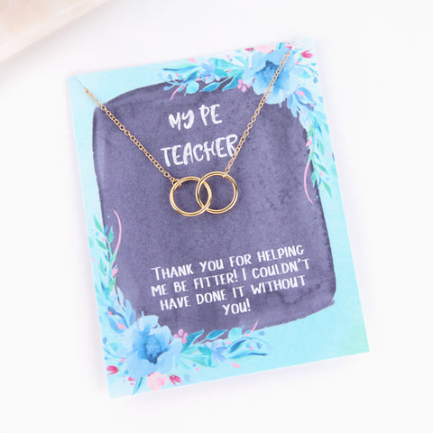 Personalised PE teacher in law blue floral style necklace - Statement Made Jewellery