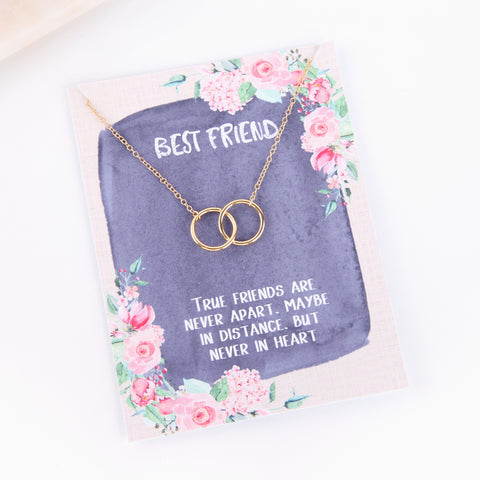 Personalised best friend gift pink floral style necklace - Statement Made Jewellery
