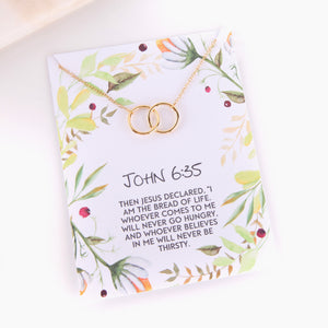 Personalised John 63:5 foliage style religious gift necklace - Statement Made Jewellery