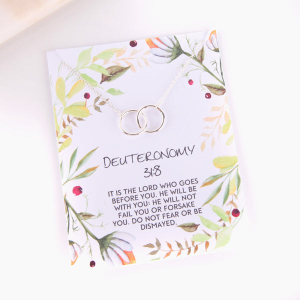 Personalised Deuteronomy 31:8 foliage style religious gift necklace - Statement Made Jewellery