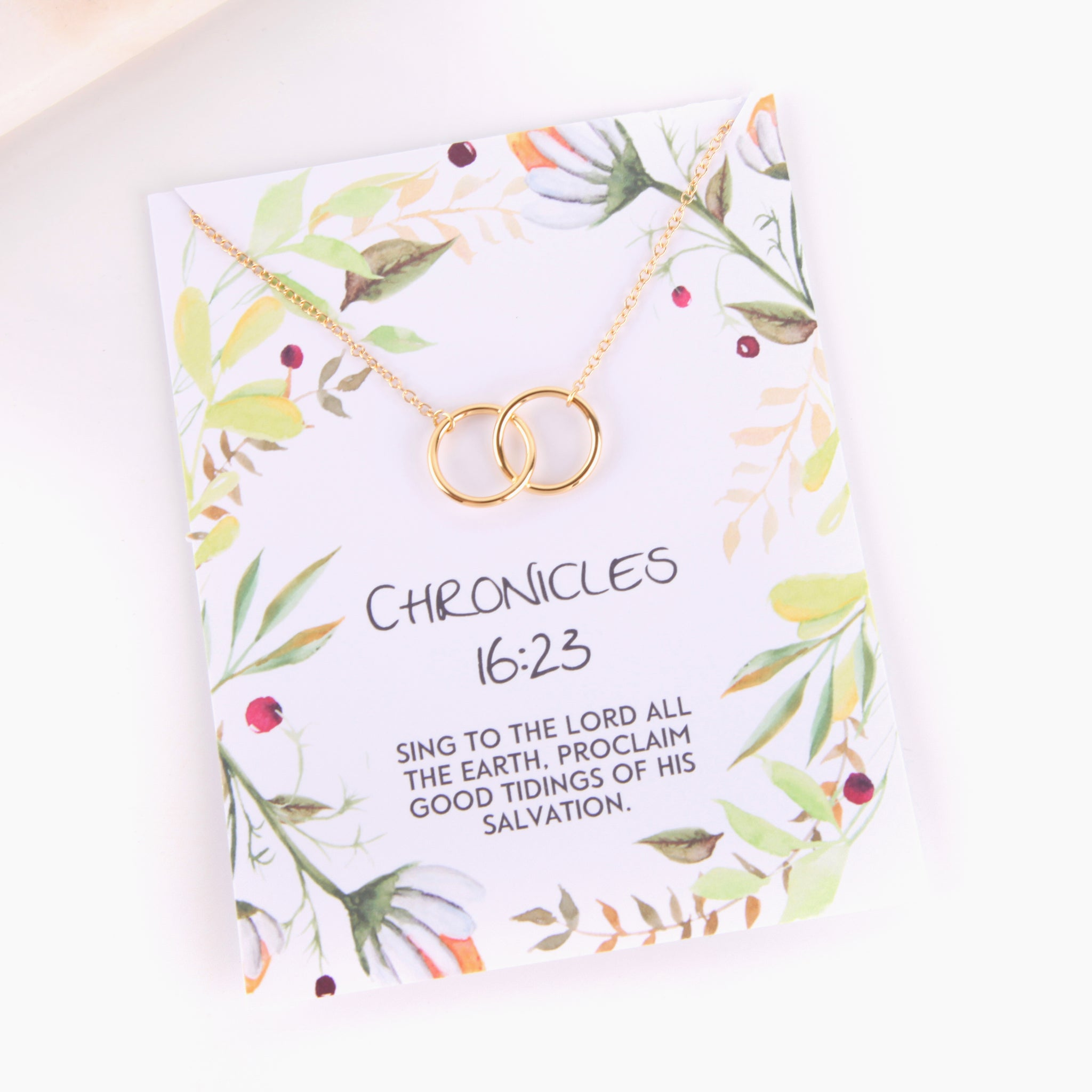 Personalised Chronicles 16:23 foliage style religious gift necklace - Statement Made Jewellery
