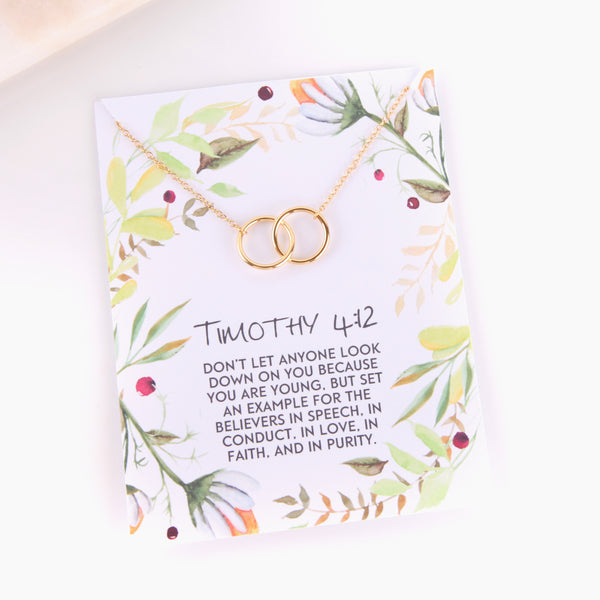 Personalised Timothy 4:12 foliage style religious gift necklace