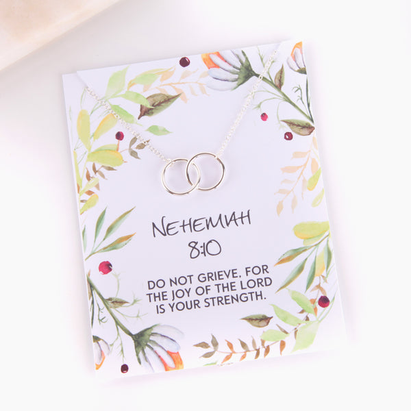Personalised nehemiah 8:10 foliage style religious gift necklace - Statement Made Jewellery
