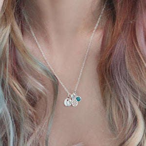 Silver pineapple and birthstone necklace