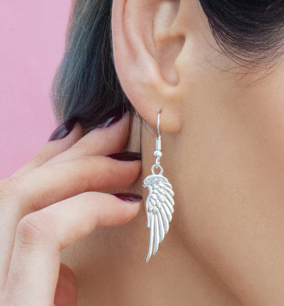 Silver angel wing drop earrings, silver drops - Statement Made Jewellery