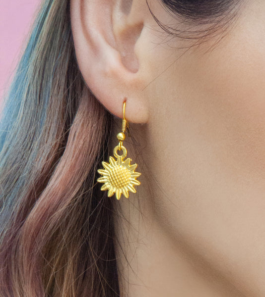 Gold sunflower drop earrings, gold drops | Statement Made Jewellery - Statement Made Jewellery