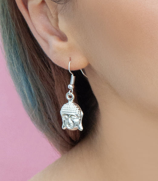 Silver buddha drop earrings, silver drops - Statement Made Jewellery
