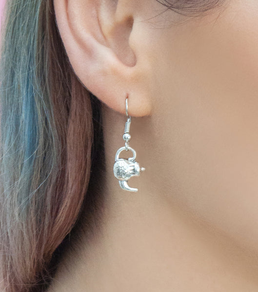 Silver teapot drop earrings, silver drops - Statement Made Jewellery