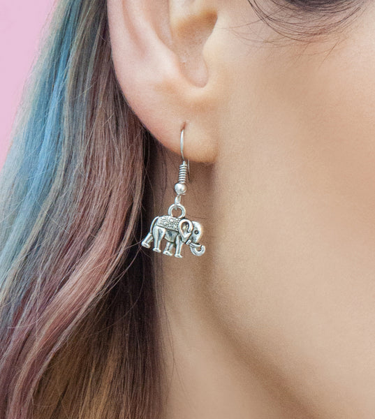 Silver elephant drop earrings, silver drops | Statement Made Jewellery - Statement Made Jewellery