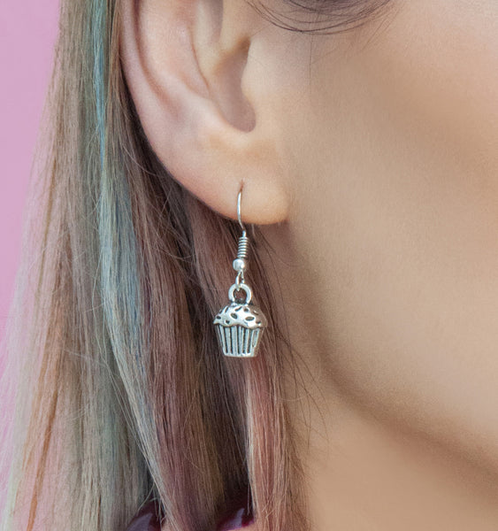 Silver cupcake drop earrings, silver drops - Statement Made Jewellery