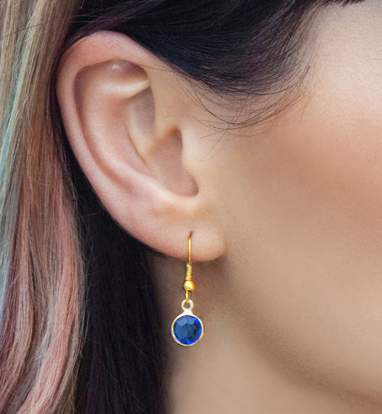 Gold birthstone drop earrings, gold drops - Statement Made Jewellery