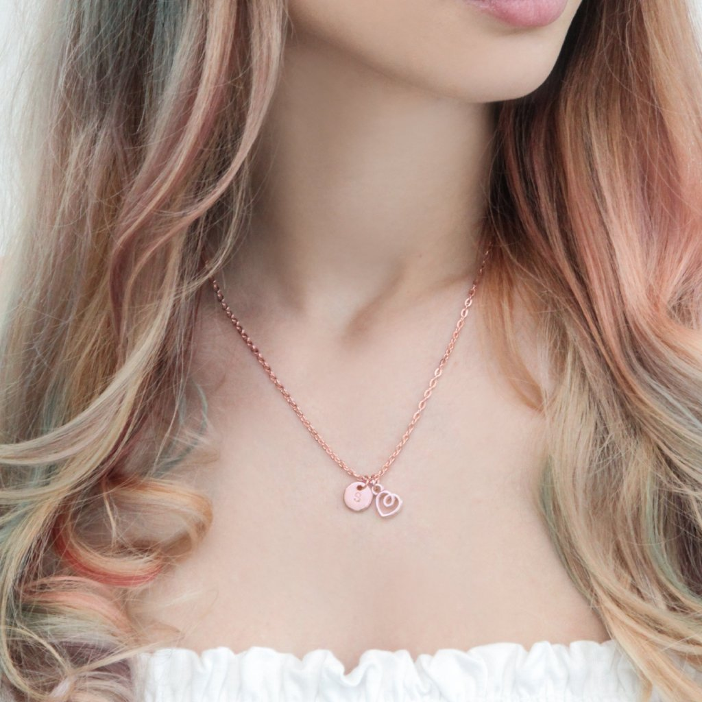 Rose gold heart and initial necklace