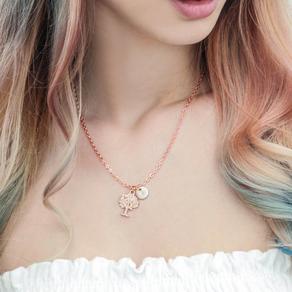 Rose gold tree and initial necklace