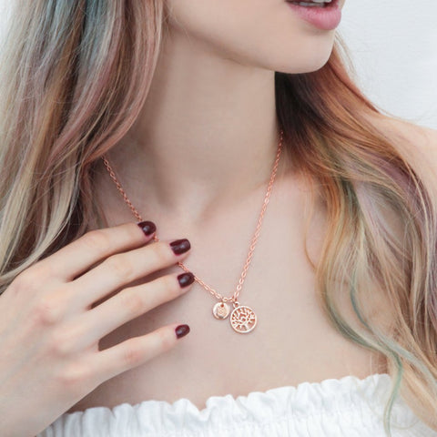 Rose gold tree of life and initial necklace