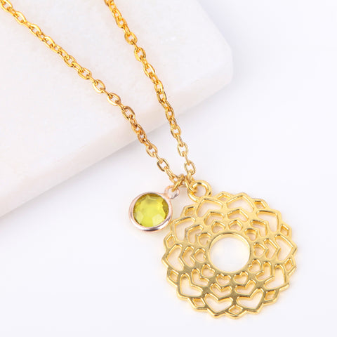 Gold crown chakra necklace, Sahasrara pendant - Statement Made Jewellery