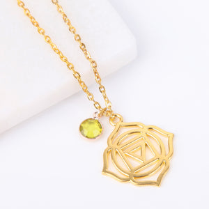 Gold root chakra necklace, Vishuddha pendant - Statement Made Jewellery