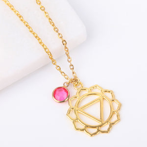 Gold solar plexus chakra necklace, Manipura chakra pendant - Statement Made Jewellery