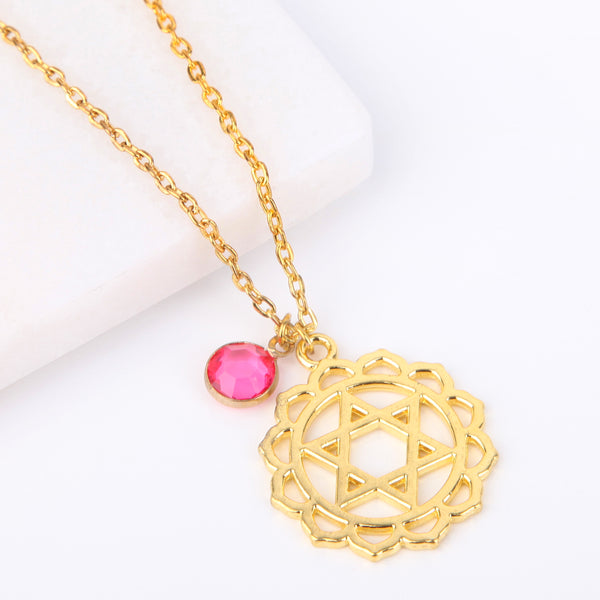 Gold heart chakra necklace, Anahata pendant - Statement Made Jewellery