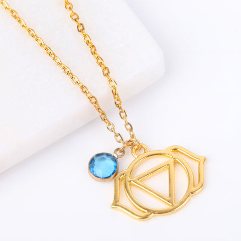 Gold third eye chakra necklace, Ajna pendant - Statement Made Jewellery