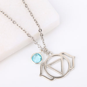 SIlver third eye chakra necklace, Ajna pendant