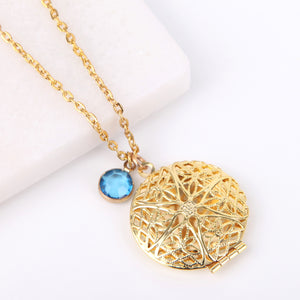 Gold circle filigree photo locket necklace, locket necklace.